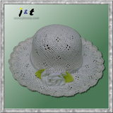 wholesale handwoven baby girl kids straw infant brim cap and hat with artificial flower